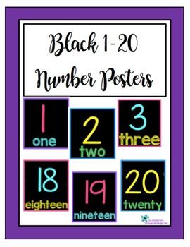 Black 1-20 Number Posters