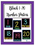 Black 1-20 Number Posters