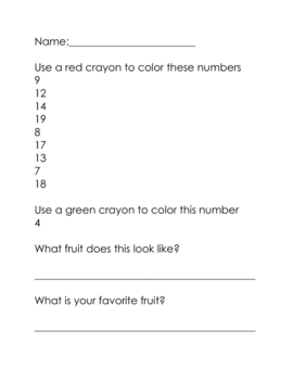 1-20 Chart Coloring in the Numbers