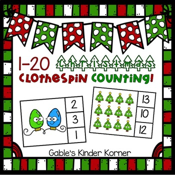 1-20 Christmas Counting Clothespin Activity