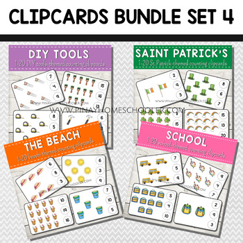1-20 Counting Clipcards Math Activities BUNDLE SET 4