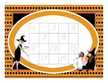 1-20 Evens Halloween Number Chart
