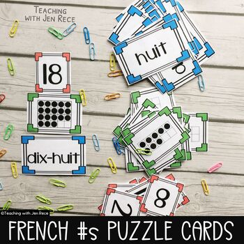 French Math Games: 0-20 Matching Number Word Cards/Puzzles