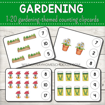 1-20 Gardening Themed Counting Clipcards Activity