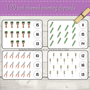 1-20 Handyman/Tools Themed Counting Clipcards Activity