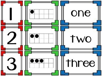 0-20 Number Card Puzzles {numerals, ten frames/twenty frames and written words)