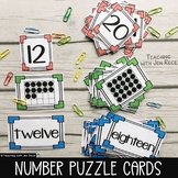 0-20 Number Card Puzzles {numerals, ten frames/twenty fram