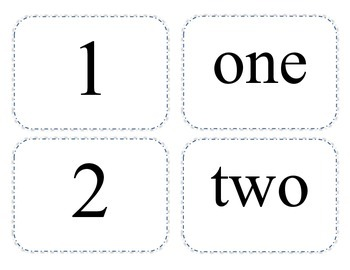 1-20 Matching - Number/Number Word/Base Ten