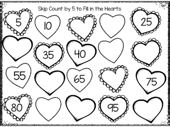 1-20 Math Hearts Worksheets- Valentine's Day