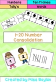 1-20 Number Consolidation/Recognition-Ten Frames, Words, N