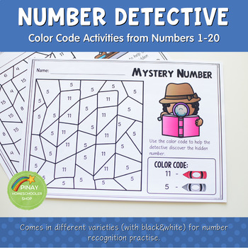 1-20 Number Detective:  Color by Code Learning Pack