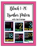 Black 1-20 Number Posters with Ten Frames