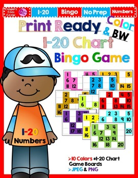 1 - 20 Number Mat Bingo Game