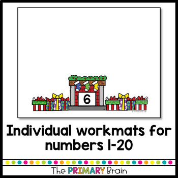 1-20 Number Match Center Cards - Christmas Themed