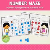 1-20 Number Recognition:  Number Maze