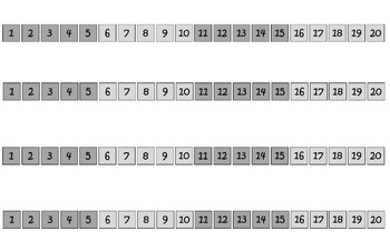 1-20 Number Path with Color Change every 5