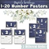 1-20 Number Posters Magnolia Farmhouse Classroom Decor