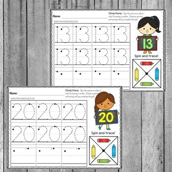 1-20 Number Recognition:  Spin and Trace