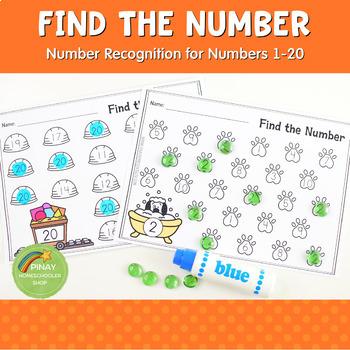 1-20 Number Recognition:  Find the Number