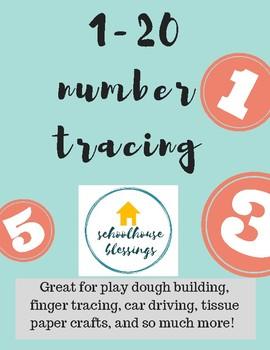 1-20 Number Tracing Printable