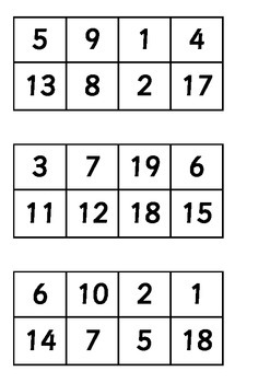 1-20 Number Triad Bingo
