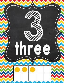 1-20 Numbers Posters *rainbow chevron and chalkboard design*