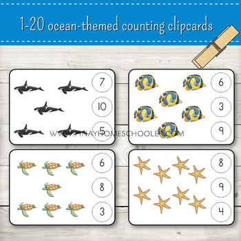 1-20 Ocean Themed Counting Clipcards Activity