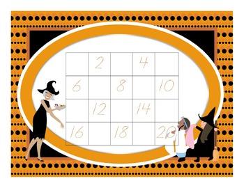 1-20 Odds Halloween Number Chart