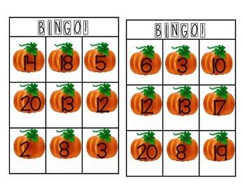 1-20 Pumpkin Bingo