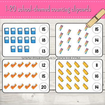 1-20 School Themed Counting Clipcards Activity