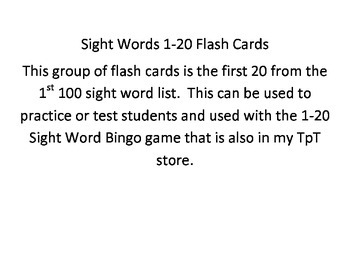 1-20 Sight Words Flash Cards