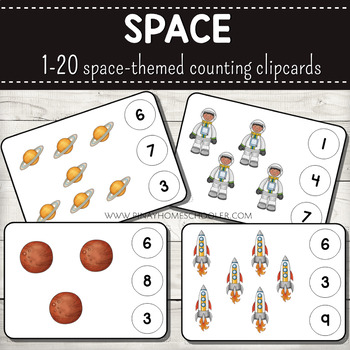1-20 Space Themed Counting Clipcards Activity