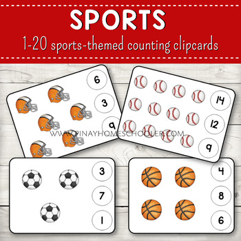 1-20 Sports Themed Counting Clipcards Activity