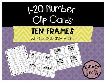 1-20 TEN FRAME Number Clip Cards