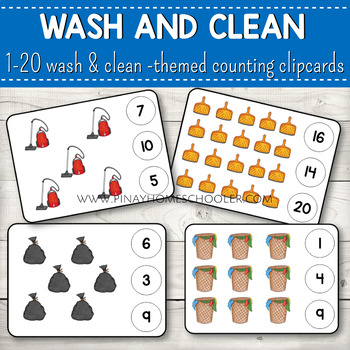1-20 Wash and Clean Themed Counting Clipcards Activity