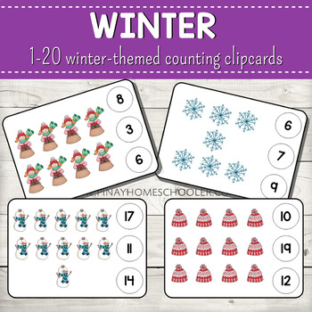 1-20 Winter Themed Counting Clipcards Activity