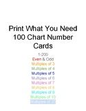 1-200 Hundreds Chart Number Cards with Multiples of 2-10 and 25!