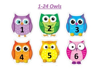 1-24 Owl Number Flash Cards