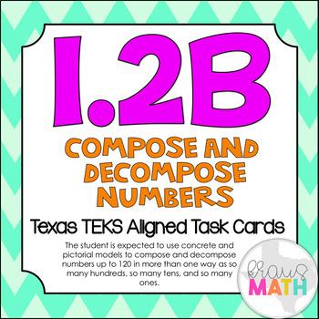 1.2B: Compose & Decompose Numbers TEKS Aligned Task Cards! (Grade 1 Math)