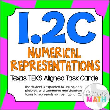1.2C: Forms of Numbers TEKS Aligned Task Cards (GRADE 1) (