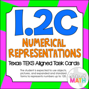 1.2C: Forms of Numbers TEKS Aligned Task Cards (GRADE 1) (