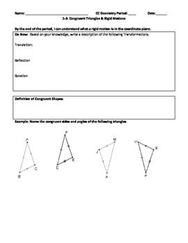 Congruent Triangles & Rigid Motions Editable Word Document