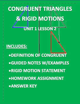Congruent Triangles & Rigid Motions Editable Word Document