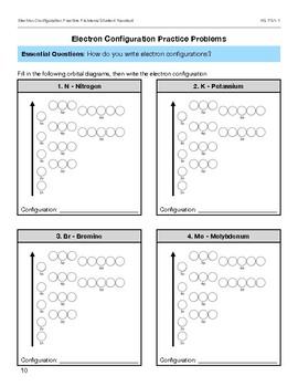 Electron Configuration Packet Lesson Plan Bundle HS PS1-1 & ESS1-2