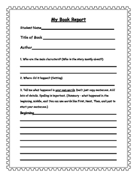 1-3 Gr. Book Report Form