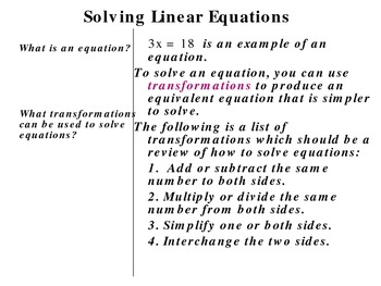 1-3 Solving Linear Equations