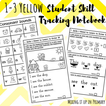 1-3 Yellow Student Skill Tracking Notebook