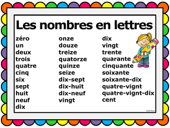 French Numbers: Wall and Student Reference Cards