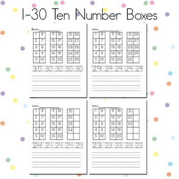 1-30 Ten number boxes
