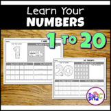 Print Draw Color Numbers 1 to 20 Worksheets